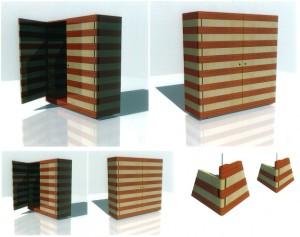 Hallenschrank Spitzahorn massiv Padouk massiv Niro Vga Edelstahl rendering Design Entwurf