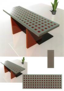 Tisch mit Betonplatte und eingelegten Hirnholzstücken aus Padouk darüber Glasplatte Padouk massiv geölt Tüngöl