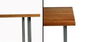 Esstisch Tafeltisch aus Birnenholz geflammt Beine Niro VGA Edelstahl geschliffen gebürstet Tischplatte lackiert PUR antiscratch Adler Lackfabrik