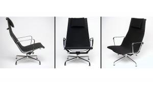 charles eames vitra aluminium group EA124 EA 124 swivel tilt lounge chair hopsak coffebrown schwarz dunkelbraun